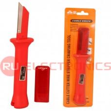 Нож кабельный с прямым лезвием для зачистки и обрезки кабеля FASEN 34HS