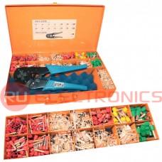 Комплект кримпера для обжима кабельных наконечников с набором втулок в ящике для переноски FASEN HS0.5-16PZD
