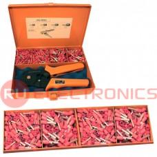 Комплект кримпера HSC8 6-6 для обжима кабельных наконечников с набором втулок в ящике для переноски FASEN LAS-005D