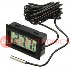 ЖК термометр/гигрометр малогабаритный RUICHI HT-1, LCD 16x35 мм, -50…+110 °С, чёрный, длина кабеля 1 м