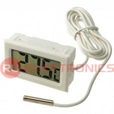 ЖК термометр/гигрометр малогабаритный RUICHI HT-1, LCD 16x35 мм, -50…+110 °С, белый, длина кабеля 2 м