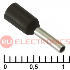Наконечник на кабель RUICHI DN00706, чёрный, 1.2x6 мм, 0.75 мм2