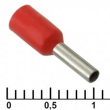 Наконечник на кабель RUICHI DN01006, красный, 1.4x6 мм