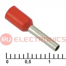 Наконечник на кабель RUICHI DN01008, красный, 1.4x8 мм, 1.0 мм2