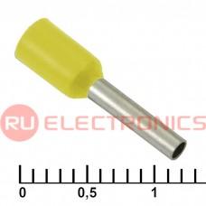 Наконечник на кабель RUICHI DN01008, жёлтая, 1.4x8 мм, 1.0 мм2