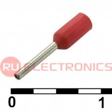 Наконечник на кабель RUICHI DN00206, красный, 0.75x6 мм, 0.25 мм2