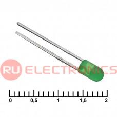 Светодиод RUICHI, 3 мм, 30 мКД, угол излучения 20 градусов, зелёный
