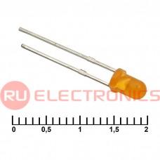 Светодиод RUICHI, 3 мм, 30 мКД, угол излучения 20 градусов, оранжевый