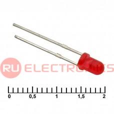 Светодиод RUICHI, 3 мм, 30 мКД, угол излучения 20 градусов, красный