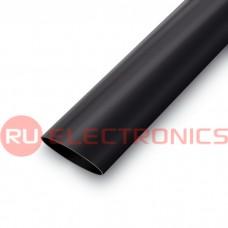 Трубка термоусаживаемая ТУТнг самозатухающая RUICHI, 1,5/0,75 мм, чёрная, 1 м
