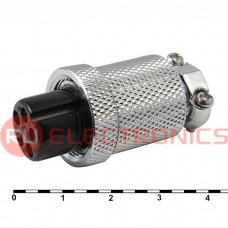 Разъем цилиндрический малогабаритный SZC GX18M-5A, 5 контактов