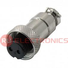 Разъем цилиндрический малогабаритный SZC GX12M-2A, 2 контакта