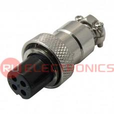 Разъем цилиндрический малогабаритный SZC GX12M-4A, 4 контакта