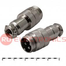 Разъем цилиндрический малогабаритный SZC GX16M-4, 4 контакта