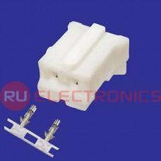Разъём питания низковольтный RUICHI HB-02 (MU-2F) наклон 2.0 мм+клеммный, 2 контакта
