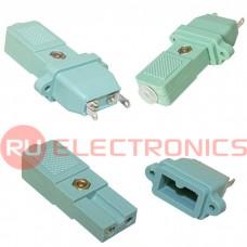 Разъем питания RUICHI AC-029, комплект вилка приборная-розетка кабельная 2-х полюсные