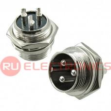 Разъем цилиндрический малогабаритный SZC GX16M-3B, 3 контакта