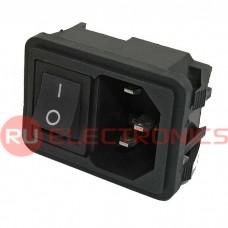 Разъем питания RUICHI AC-002 (черный), с выключателем