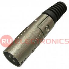 Разъём микрофонный XLR RUICHI JD-357/AUD-71, вилка 3-х полюсное