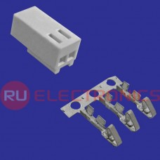 Разъём питания низковольтный RUICHI HU-02 наклон 2.54 мм, 2 контакта