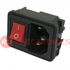 Разъем питания RUICHI AC-002 (красный), с выключателем
