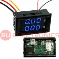 Цифровой LED вольт-амперметр однофазный RUICHI, 0-100 В, 0-10 A, подсветка синяя