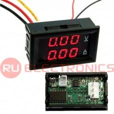 Цифровой LED вольт-амперметр однофазный RUICHI, 0-100 В, 0-10 A, подсветка красная