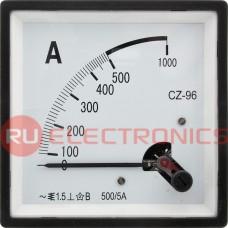 Амперметр RUICHI 500/5А 50гц (96х96), вертикальный