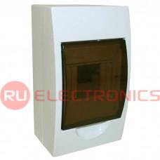 Распределительный щит RUICHI ЩРН-П-4 навесной, прозрачный, чёрная дверь, IP40