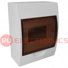 Распределительный щит RUICHI ЩРН-П-6 навесной, прозрачный, чёрная дверь, IP40