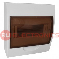 Распределительный щит RUICHI ЩРН-П-8 навесной, прозрачный, чёрная дверь, IP40