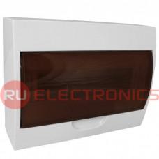 Распределительный щит RUICHI ЩРН-П-12 навесной, прозрачный, чёрная дверь, IP40