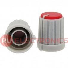 Ручка приборная RUICHI RR4853 (6 мм круг красный), на вал с зубцами