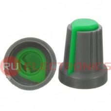 Ручка приборная RUICHI RR4817 (6 мм п.круг зелёный), на вал с зубцами