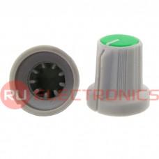 Ручка приборная RUICHI RR4836 (6 мм круг зелёный), на вал с зубцами