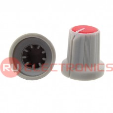 Ручка приборная RUICHI RR4836 (6 мм круг красный), на вал с зубцами