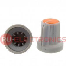 Ручка приборная RUICHI RR4836 (6 мм круг оранж.), на вал с зубцами