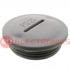 Заглушка для кабельных вводов RUICHI PG21, пластиковая, цвет серый